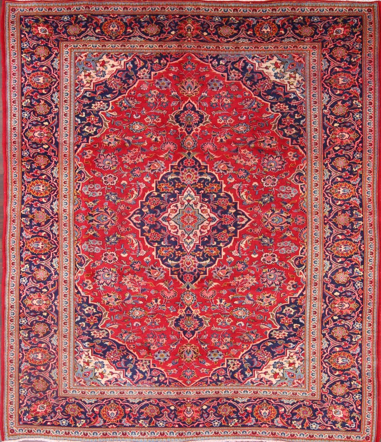 Antique Traditional Floral Red Navy Blue 8x11 Kashan