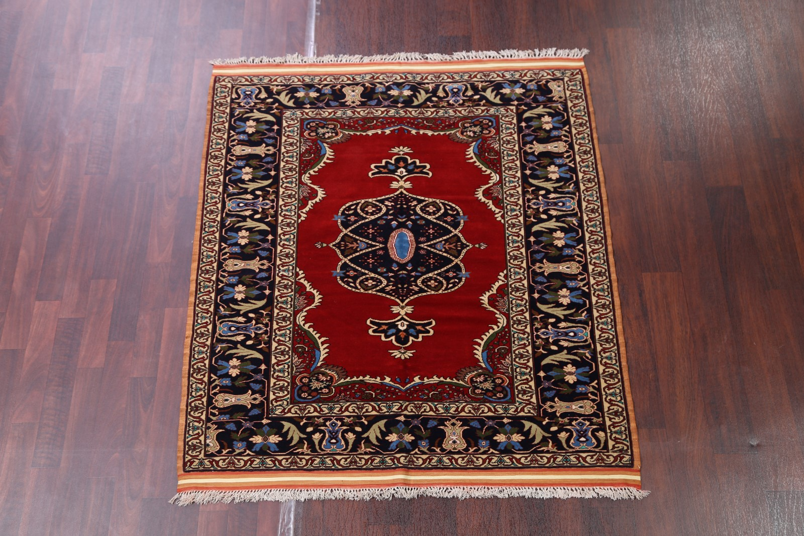 Wool Silk Square 5x5 Traditional Oriental Area Rug Floral