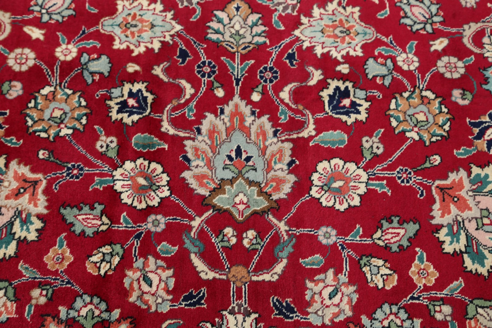 New All Over Pattern Floral Red Green 10x13 Tebriz Persian
