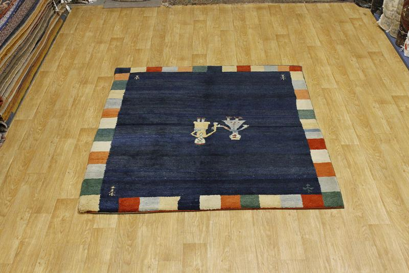 Thick Pile Navy Blue 7x8 Gabbeh Persian Oriental Area Rug