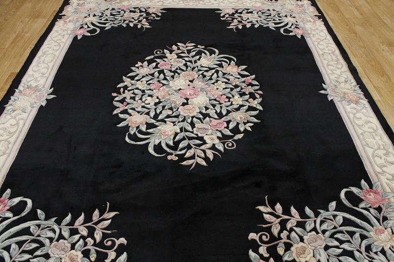 Handmade Carved Floral Black 8x10 Art Deco Chinese