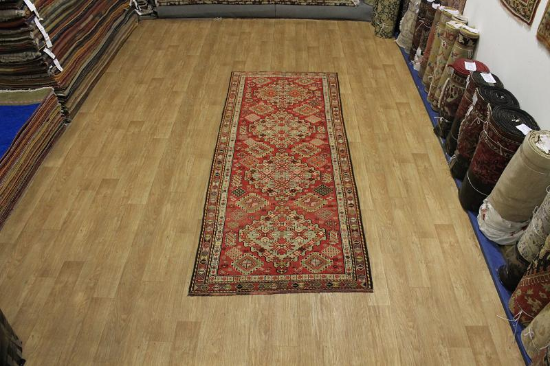 60 Years Old Antique Runner 4x11 Caucasian KAZAK Oriental Area Rug