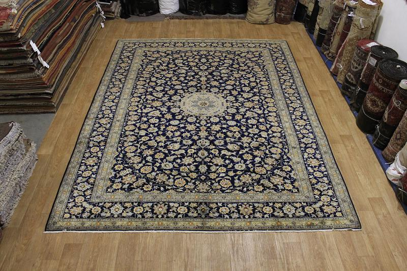 LARGE FLORAL NAVY BLUE 10X13 ISFAHAN PERSIAN ORIENTAL AREA RUG WOOL CARPET NEW