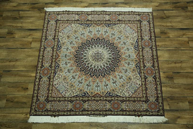Wool Amp Silk Square 7x7 Signed Tabriz Gonbad Persian Area