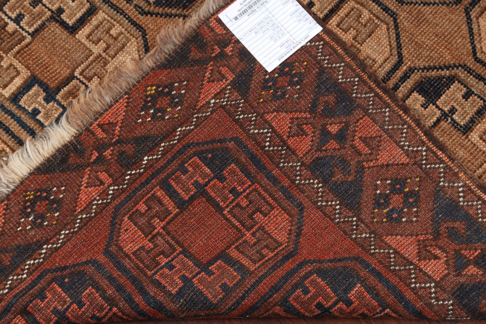 Antique Geometric Rust Brown Balouch Bokhara Afghan Hand