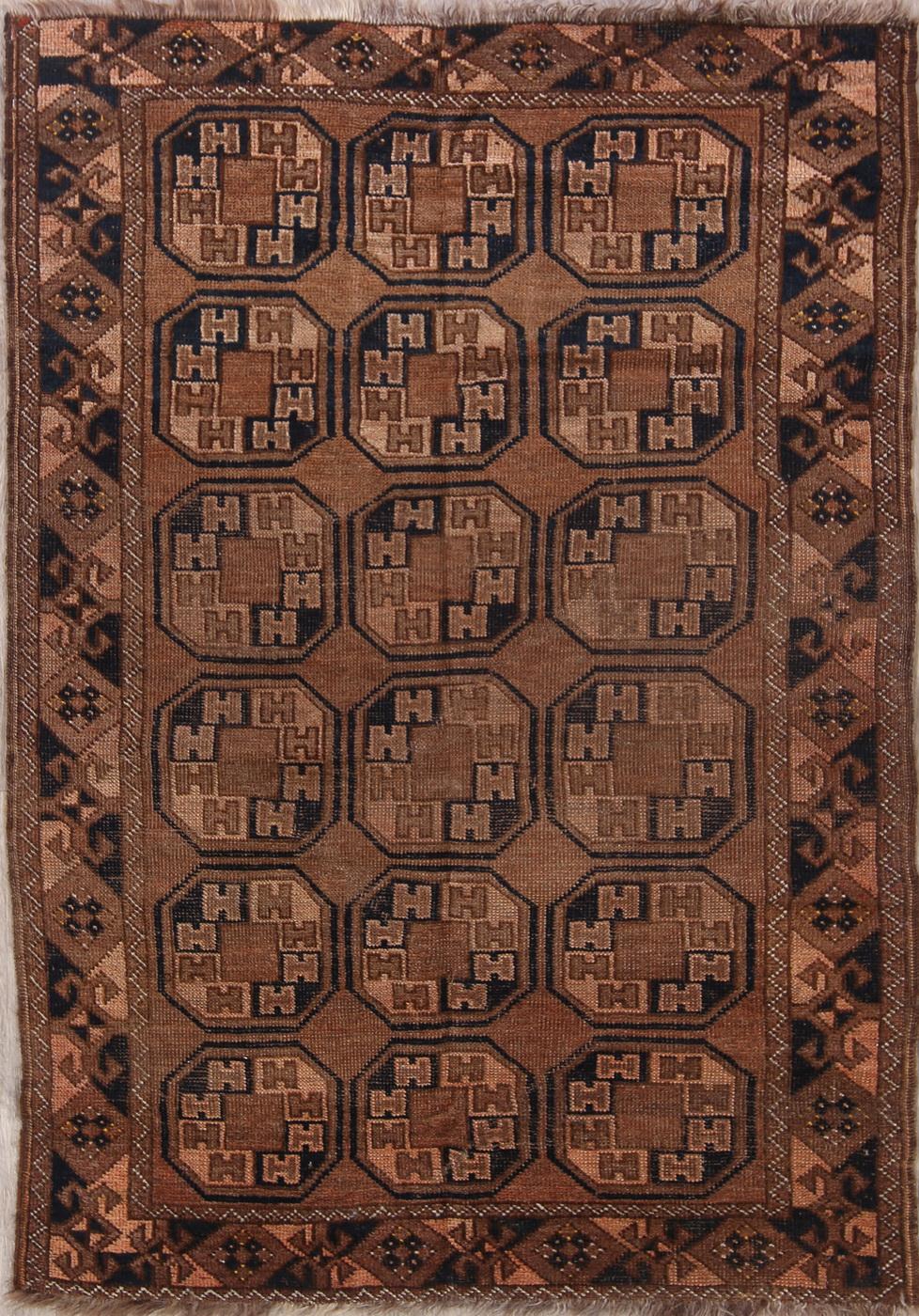 Antique Geometric Rust Brown Balouch Bokhara Afghan Hand