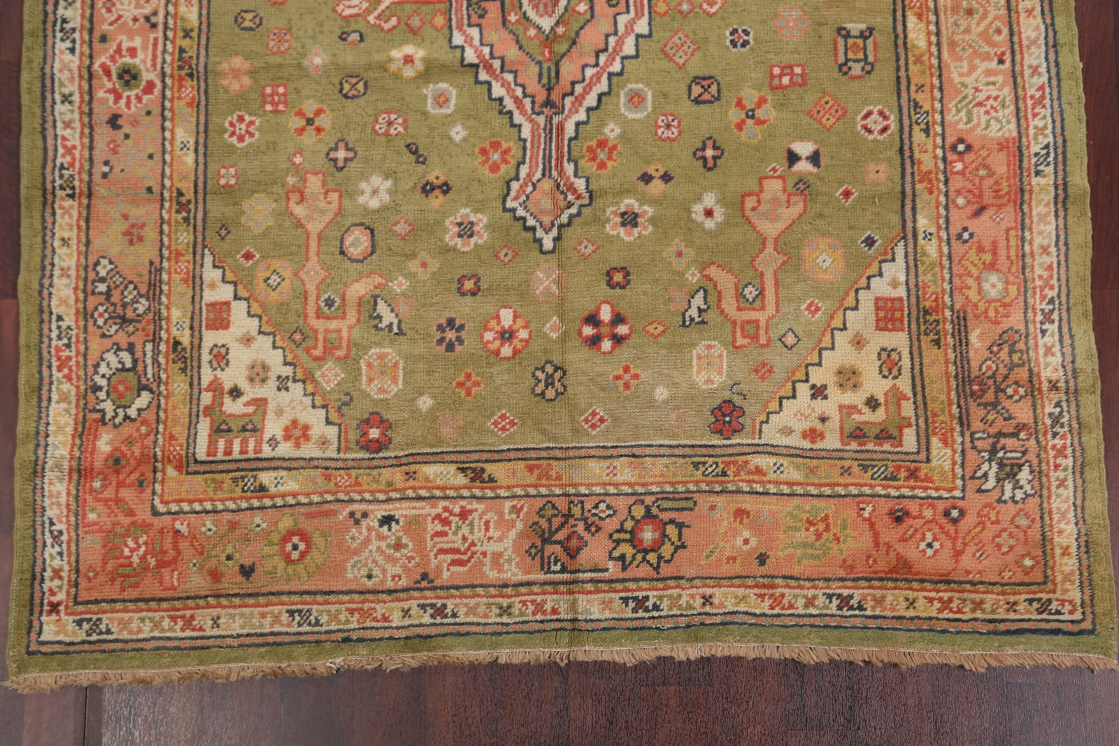 Pre 1900 Vegetable Dye Antique Oushak Turkish Hand Knotted