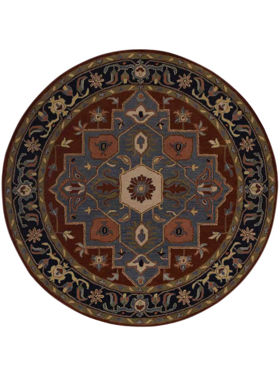100% Wool Hand-Tufted Classic Geometric Round 6x6 Heriz Oriental Area Rug Carpet : eBay