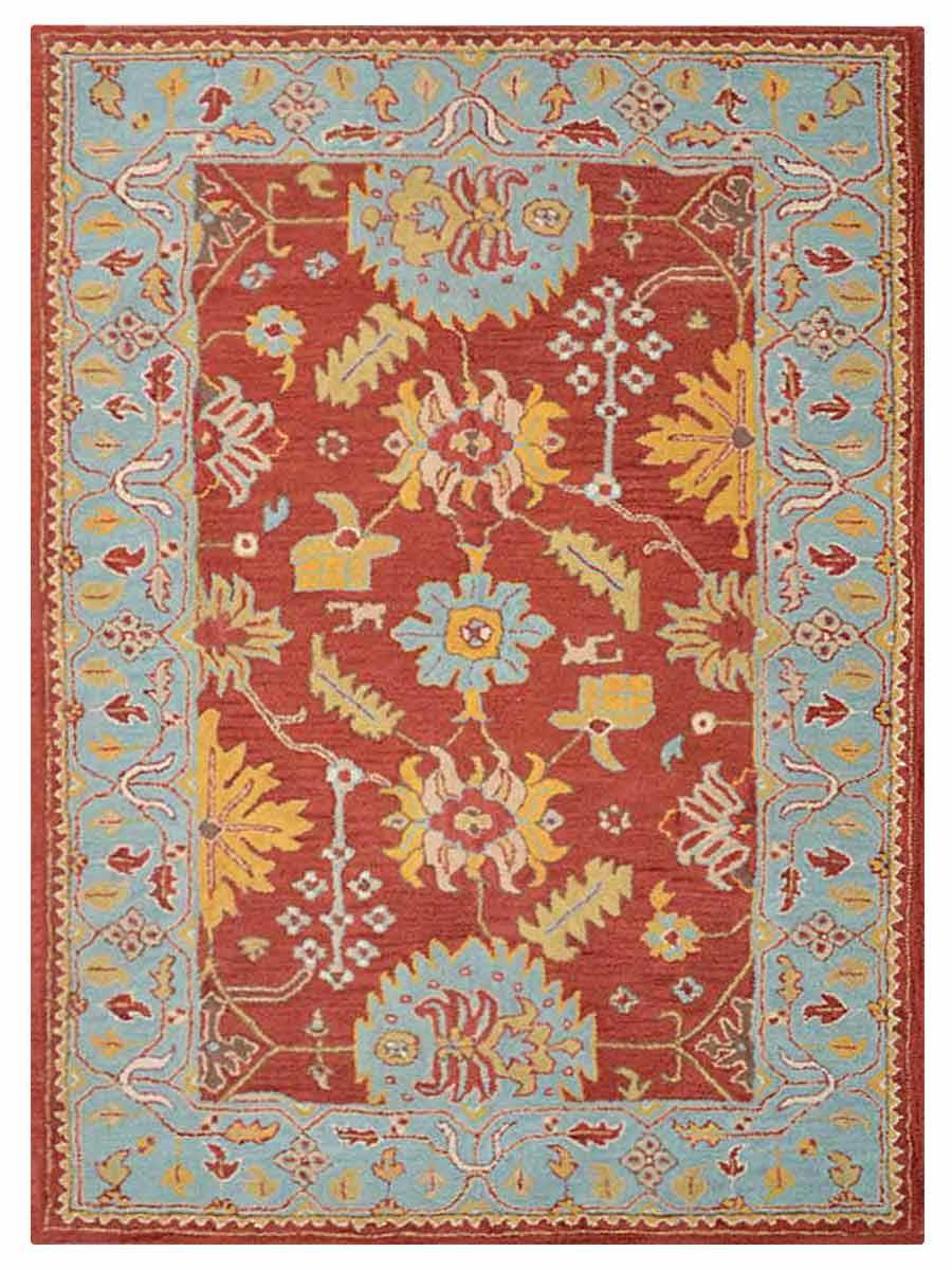 100 Wool Hand Tufted Geometric 5x8 Oushak Ziegler Agra