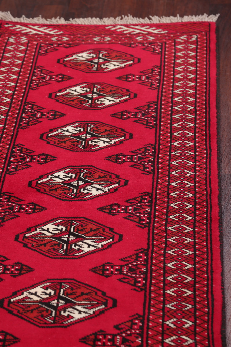New Geometric Red Balouch Bokhara Afghan Oriental Runner