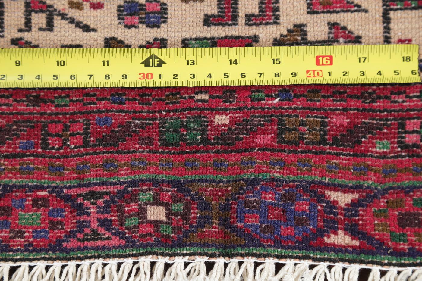 Vintage Geometric Tribal Ivory Runner Gharajeh Persian