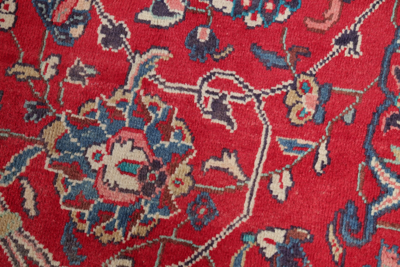 One Of A Kind Vintage Floral Red Oriental Hand Made Area
