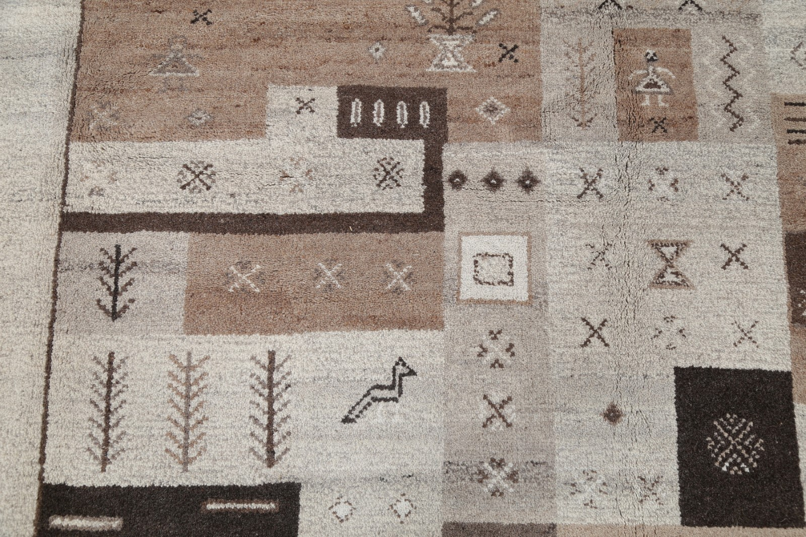 Geometric Tribal Earth Tones Gabbeh Turkish Oriental Hand