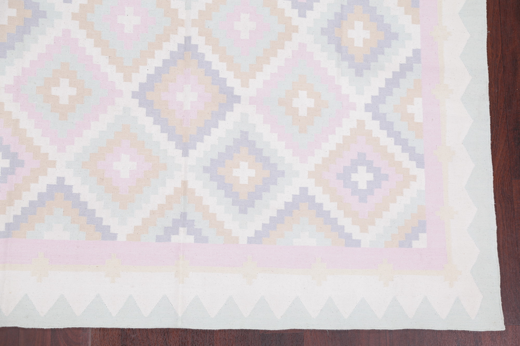 Geometric Ivory Modern Hand Woven Dhurrie Kilim Oriental