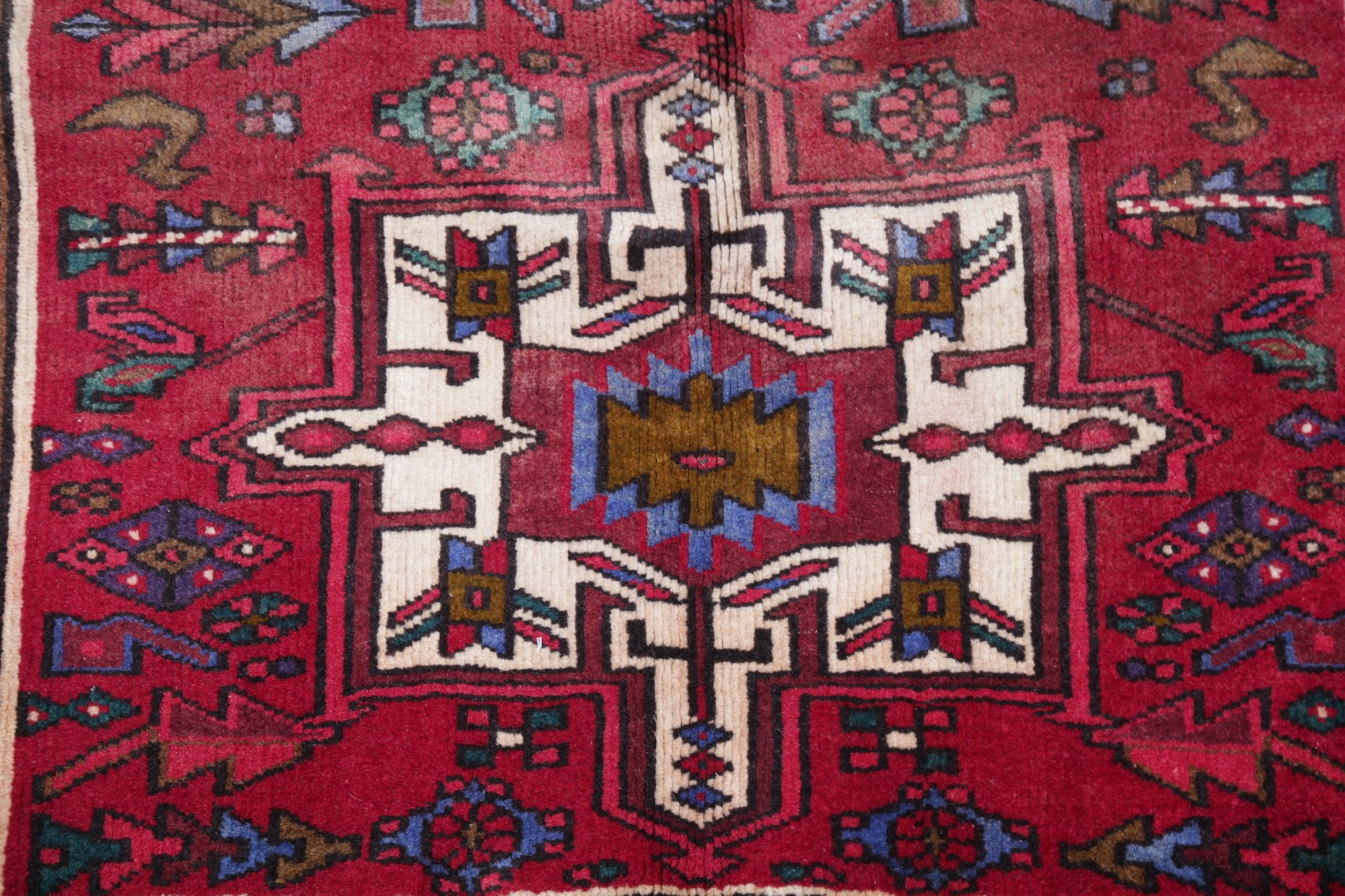 Vintage Tribal Geometric Oriental Hand Knotted 3 X11 Red