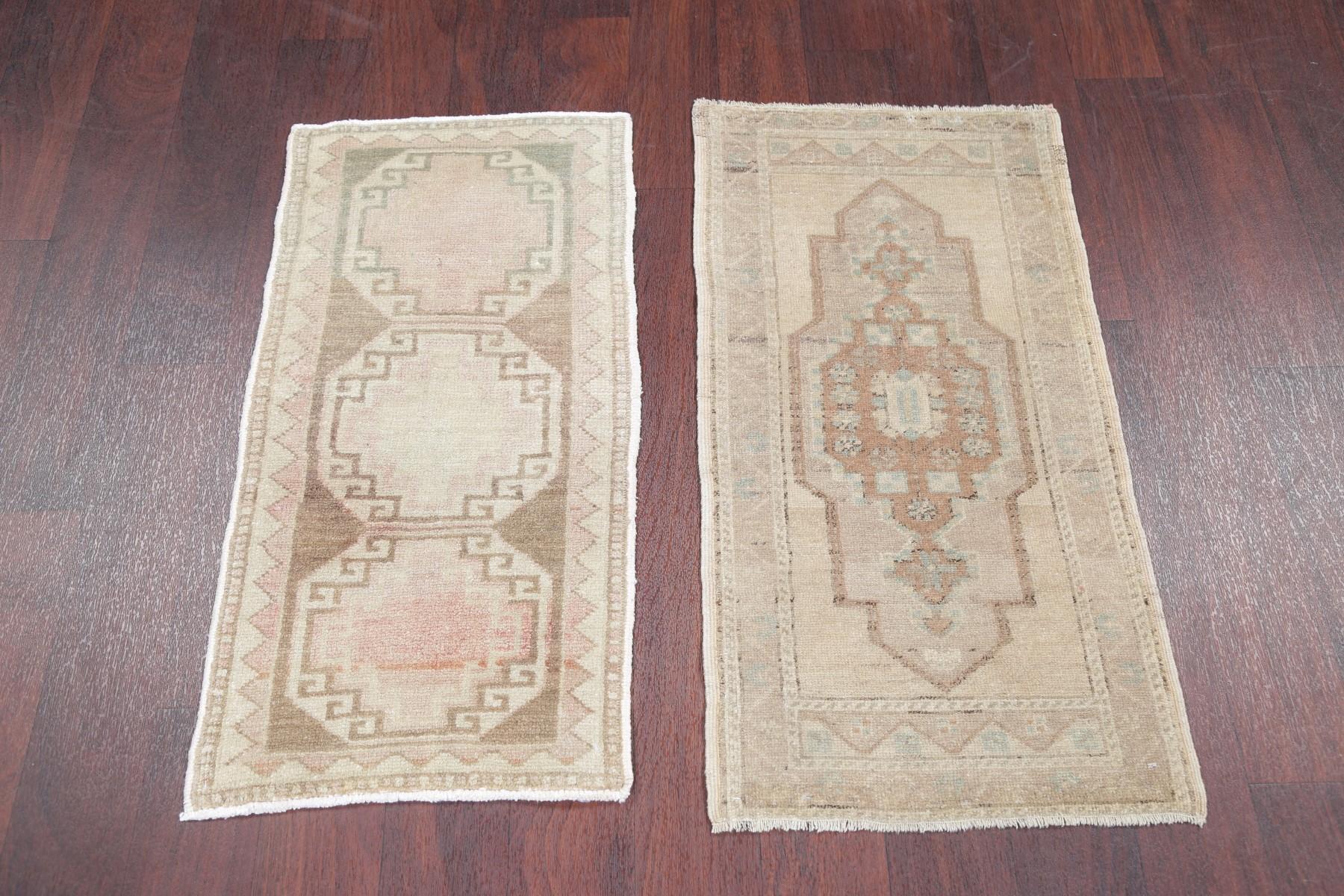 Set Of 2 Vintage Tea Washed Muted Color Oushak Turkish