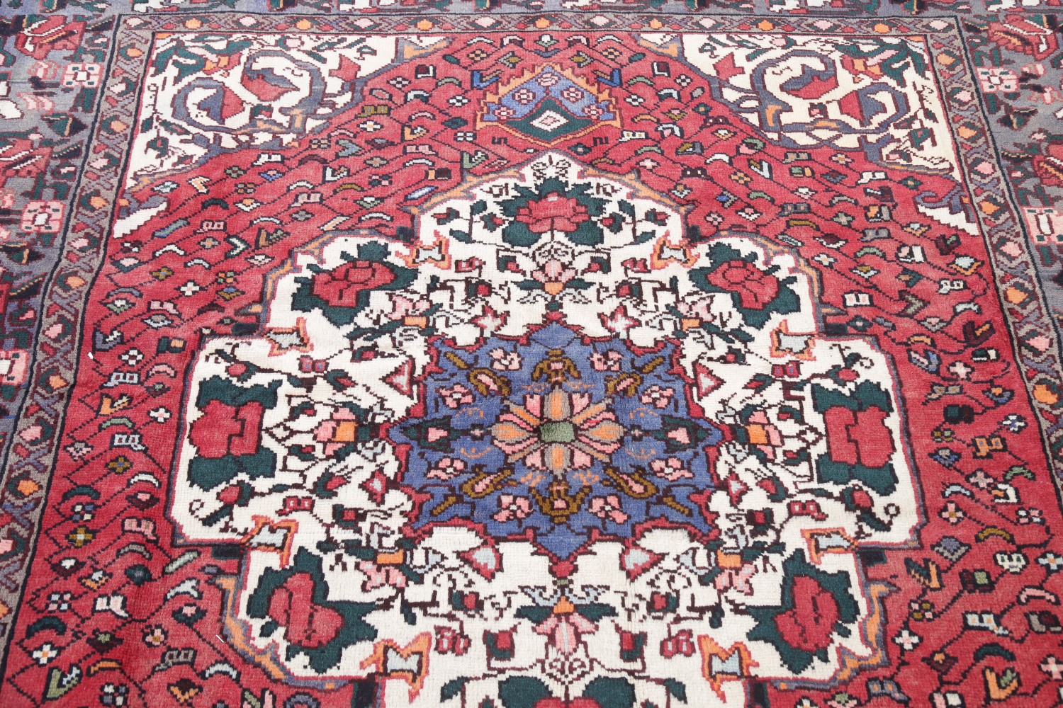 Collectors' Piece Antique Double Medallion Floral Pattern Pictorial Tribal Rug Antiques