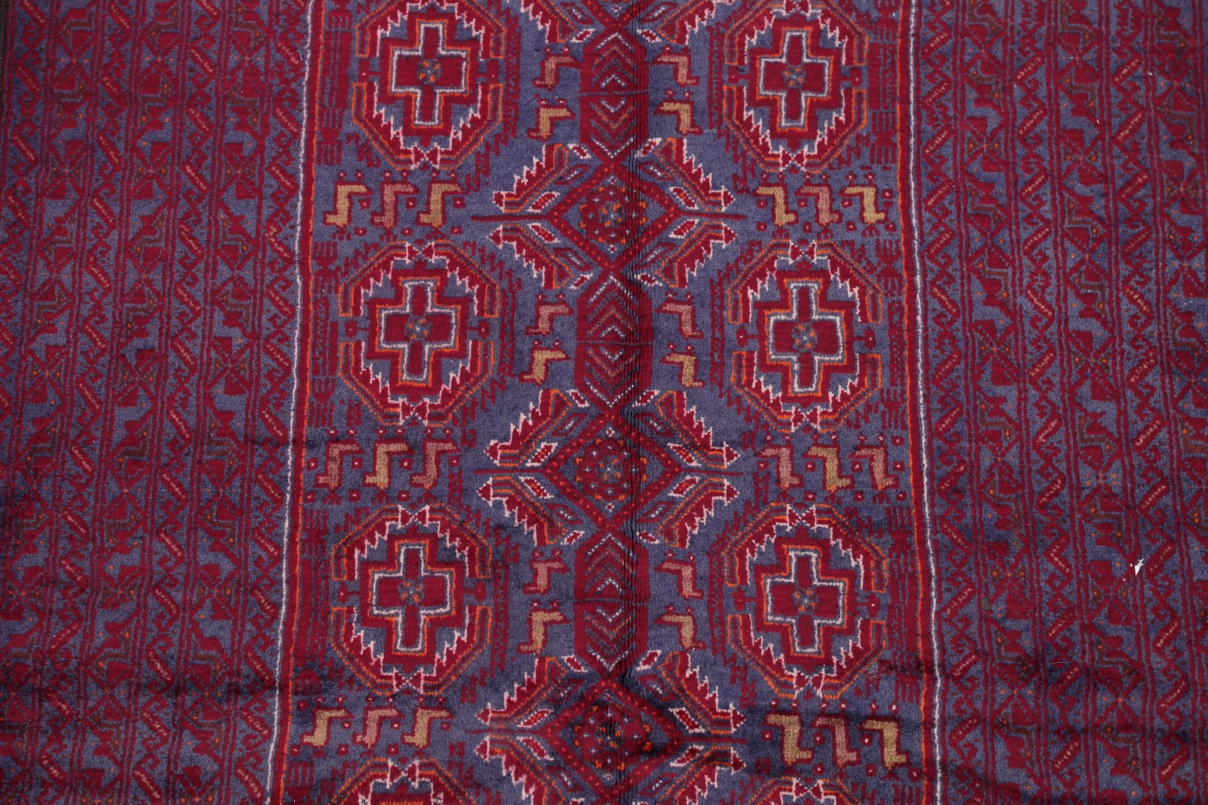 Vintage Geometric Blue Red Afghan Tribal Area Rug Oriental