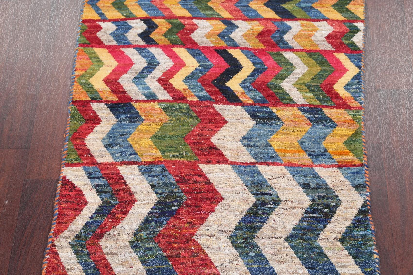 3x5 Zig Zag Gabbeh Persian Modern Wool Oriental Color Full