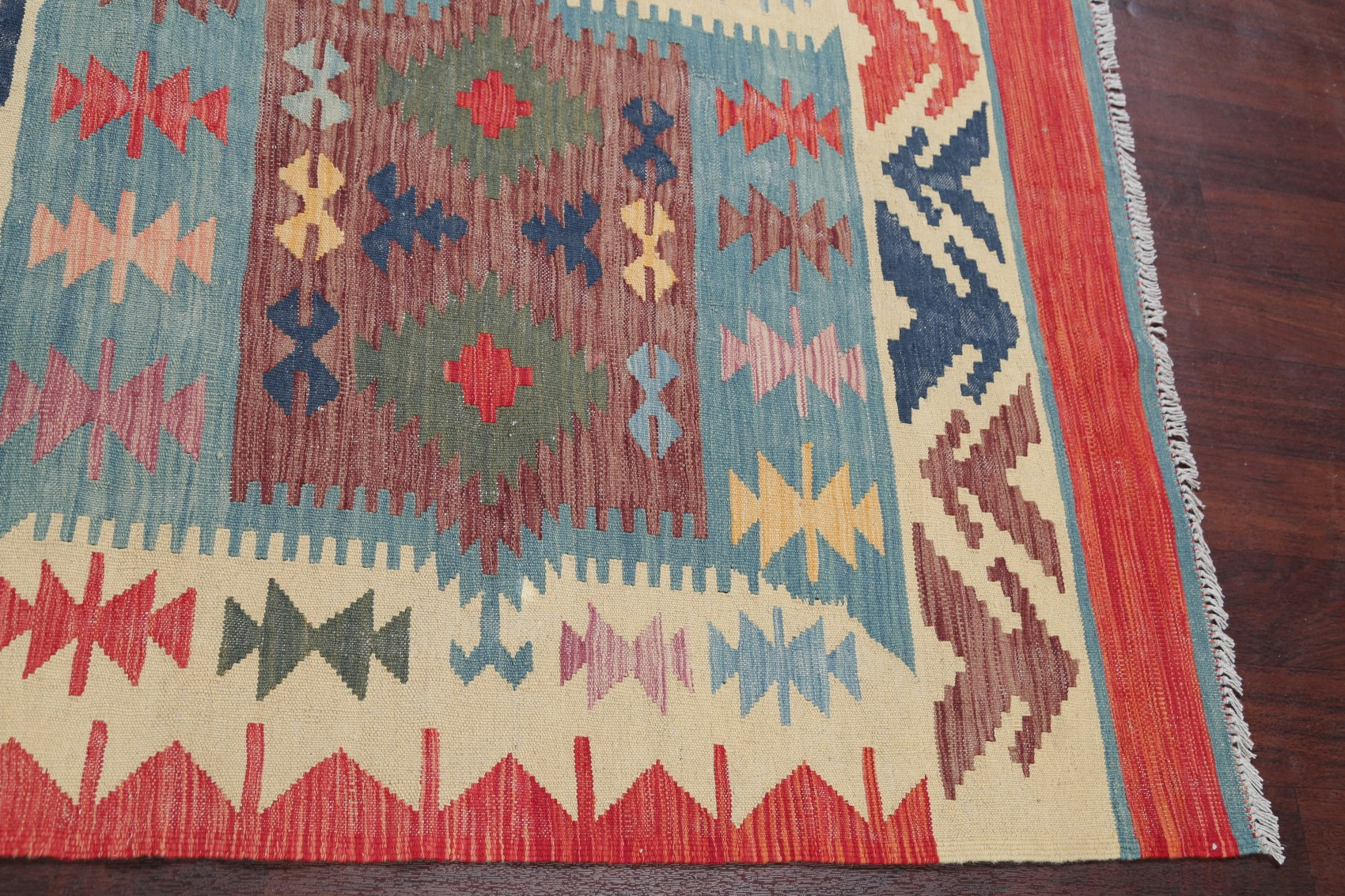 Geometric 18 Ft Long Stair Runner Kilim Turkish Oriental