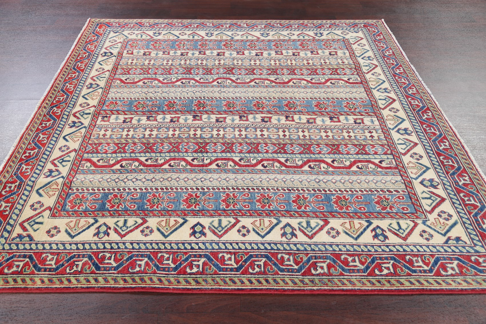 New Chechen Kazak Hand Knotted Geometric Square Rug 7x7
