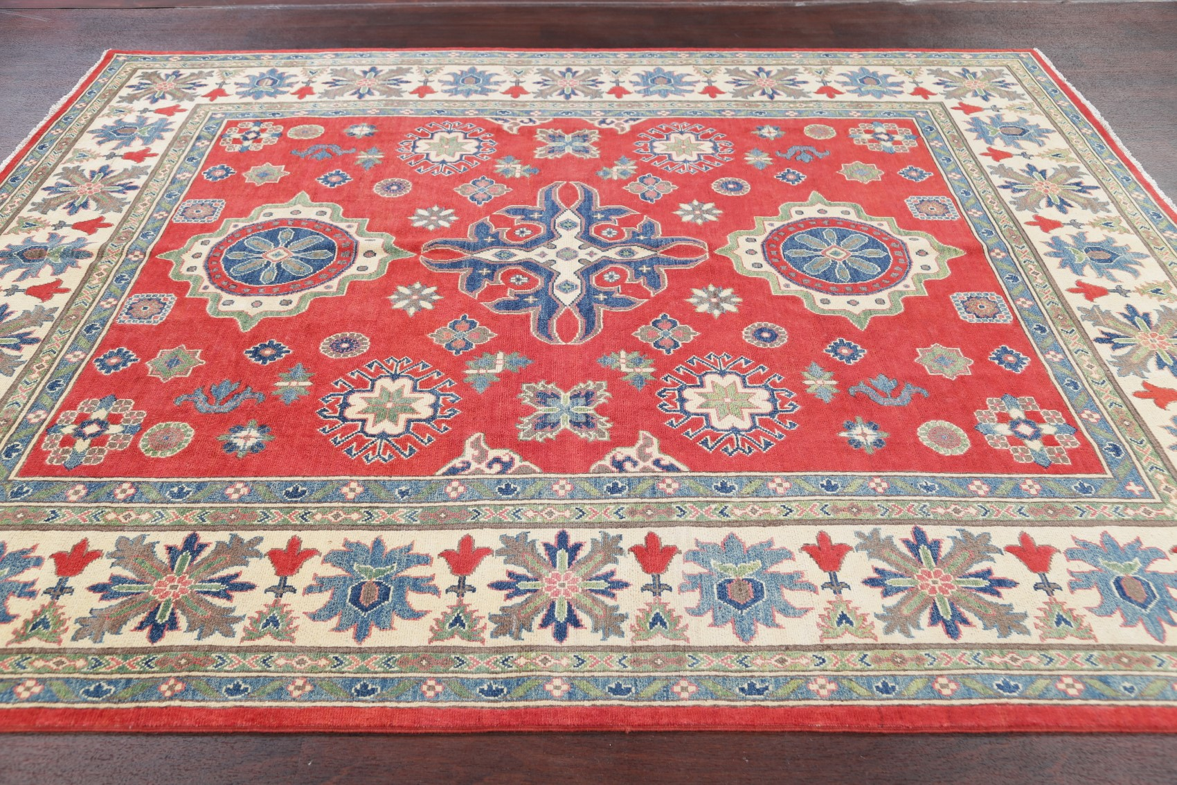 Vegetable Dye Kazak Chechen Geometric Rug 8x10 Oriental