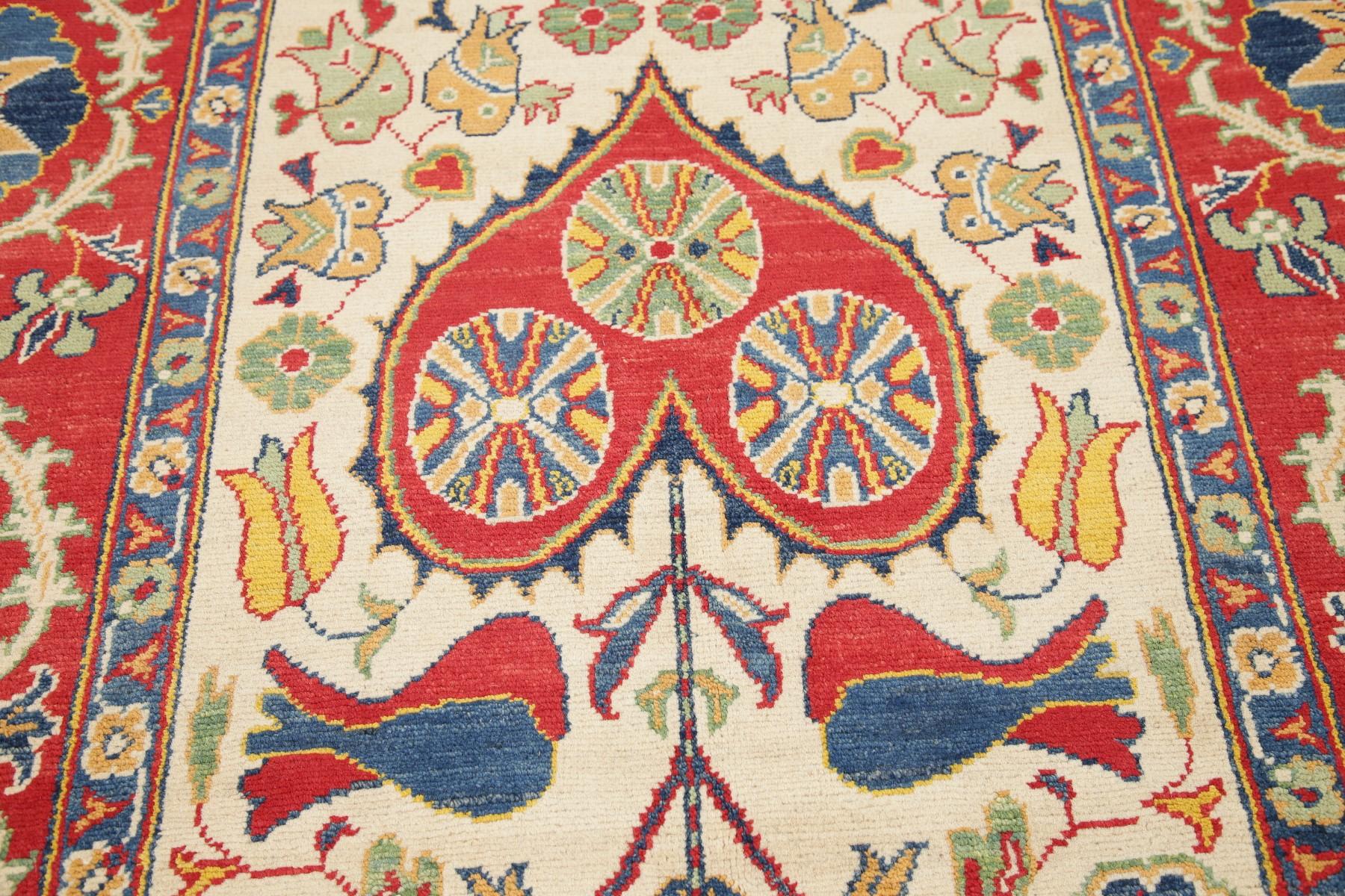 6x8 Red And Ivory Kazak Geometric Oriental Decorative Wool