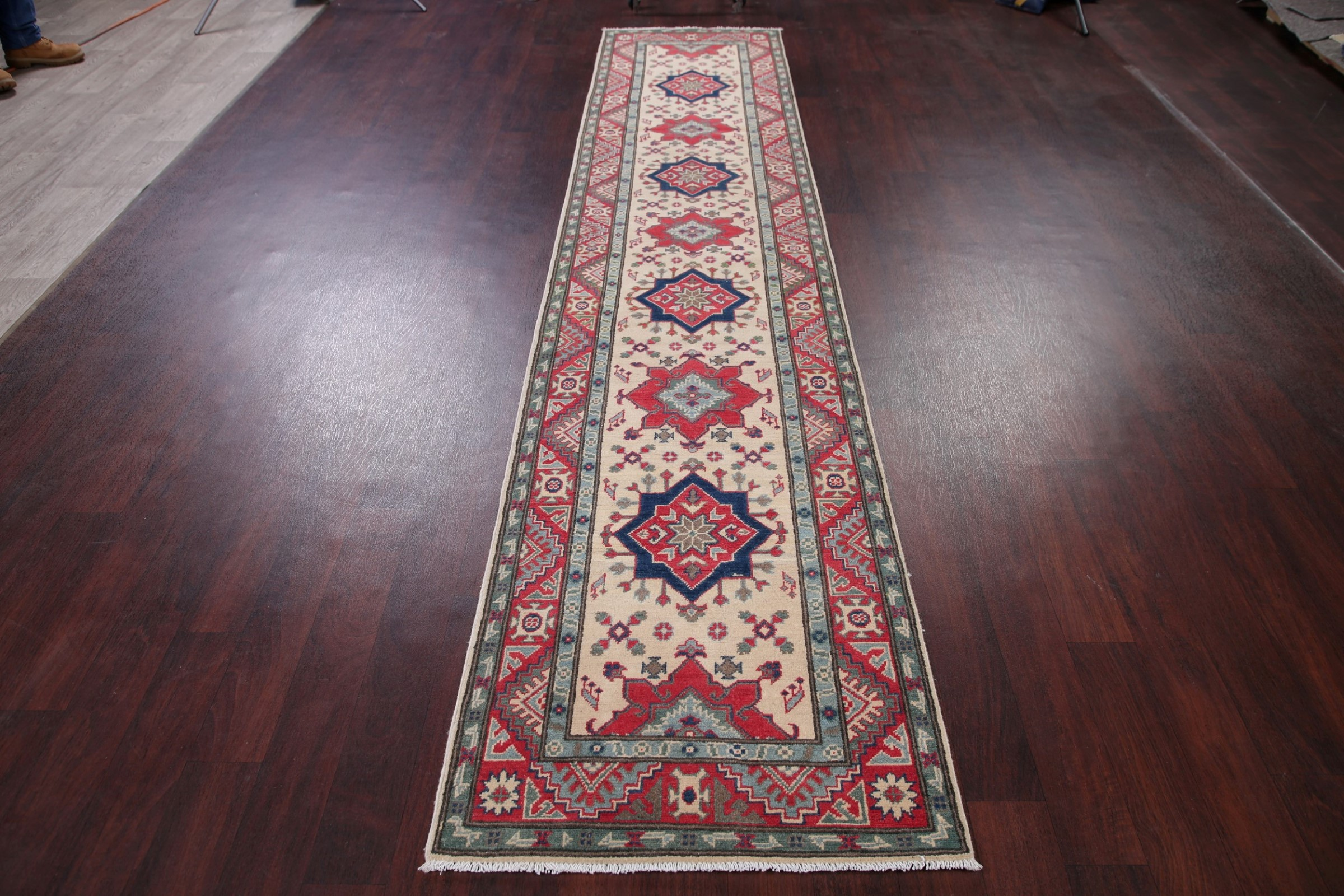 Ivory 13 Ft Long Runner Kazak Geometric Oriental Wool Rug