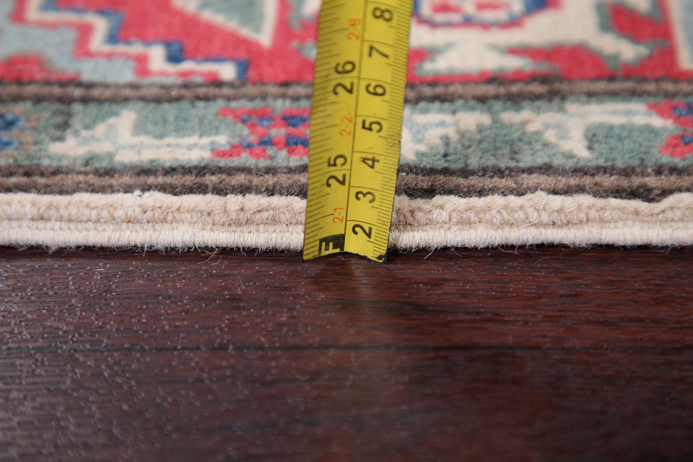 Ivory 13 Ft Long Runner Kazak Geometric Oriental Wool Rug