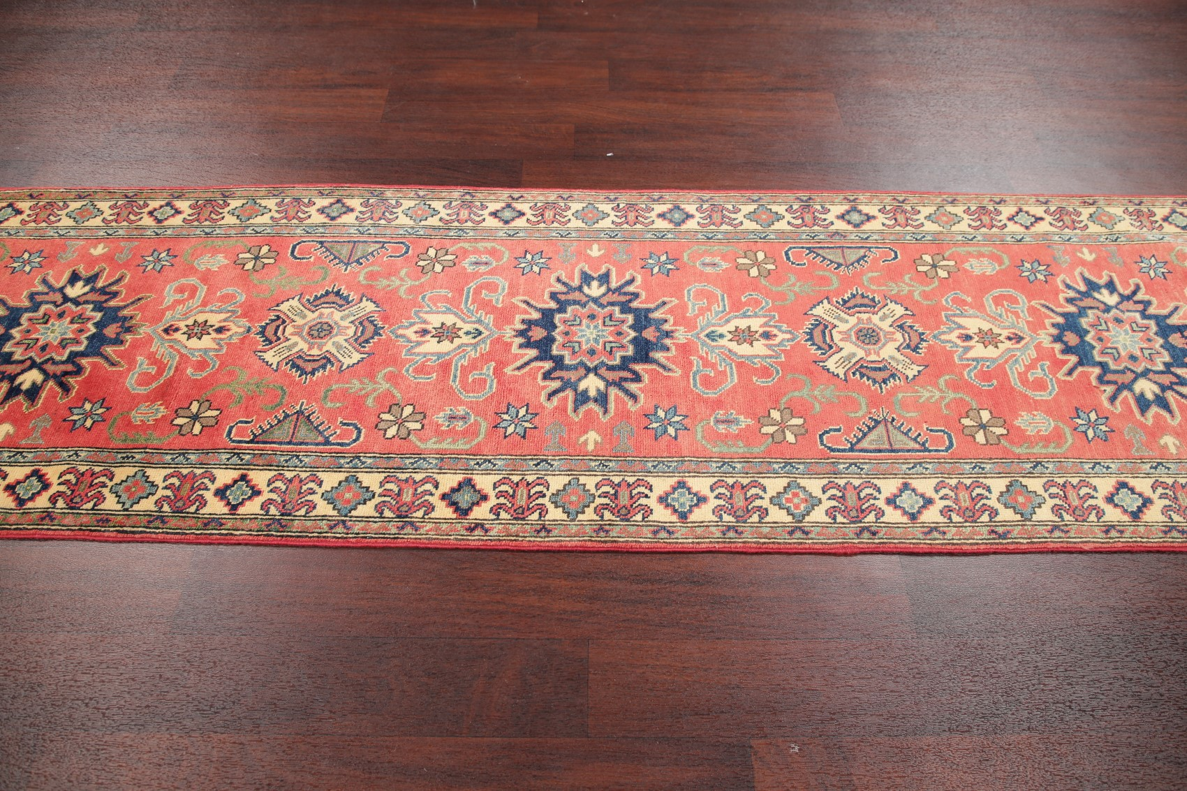 Coral Red 10 Ft Runner Kazak Geometric Oriental Stair Rug