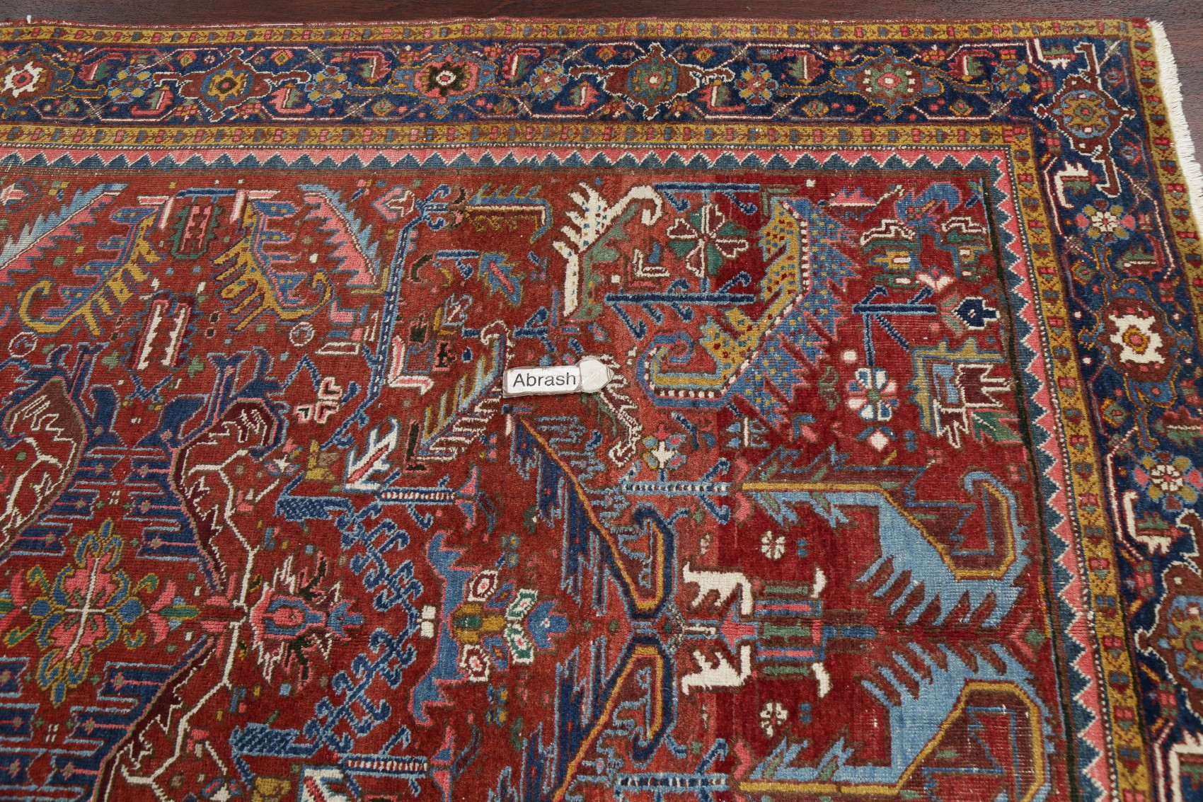 Antique Heriz Serapi Persian Area Rug All Over Oriental