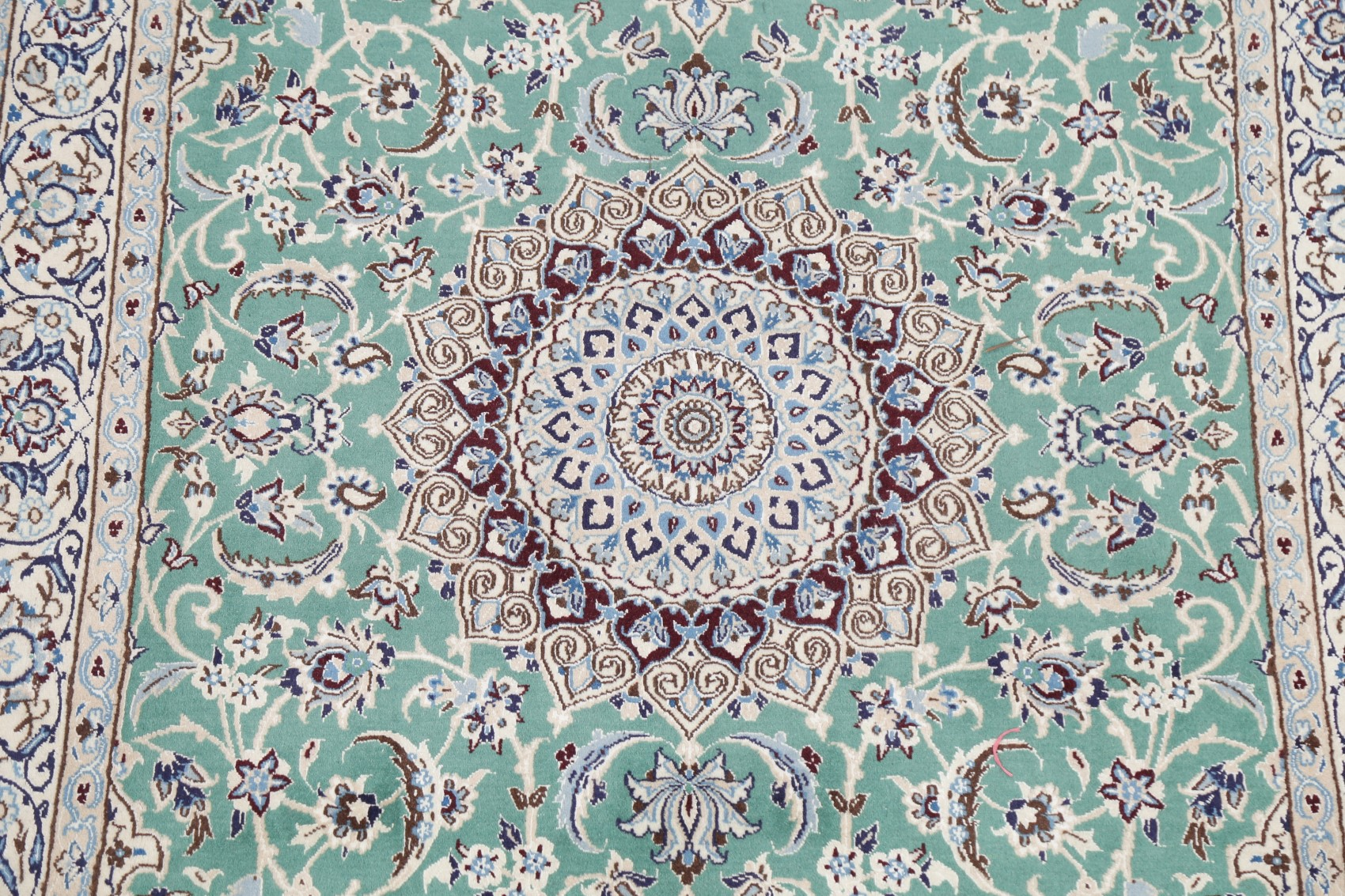 Details About Vintage Traditional Floral Emerald Green Wool Silk Nain Area Rug Hand Made 4 X7