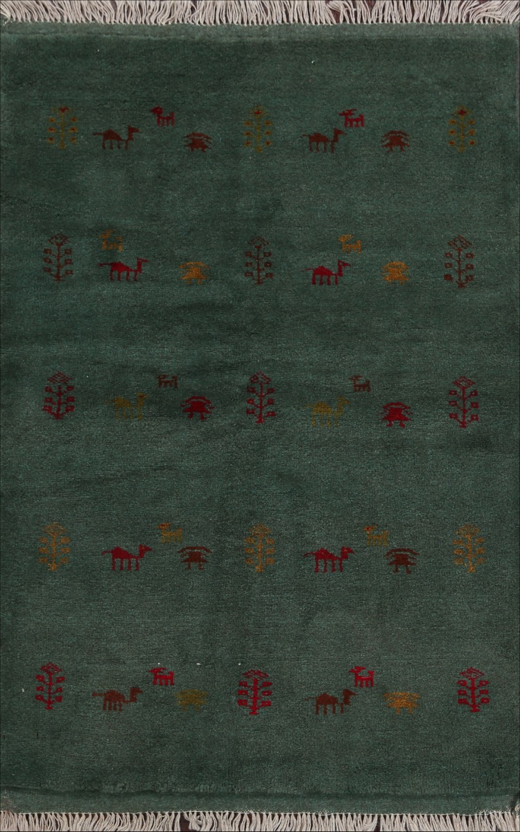 Soft Plush Green Tribal Gabbeh Little Animal All Over Area Rug Wool Handmade 3x5 Ebay