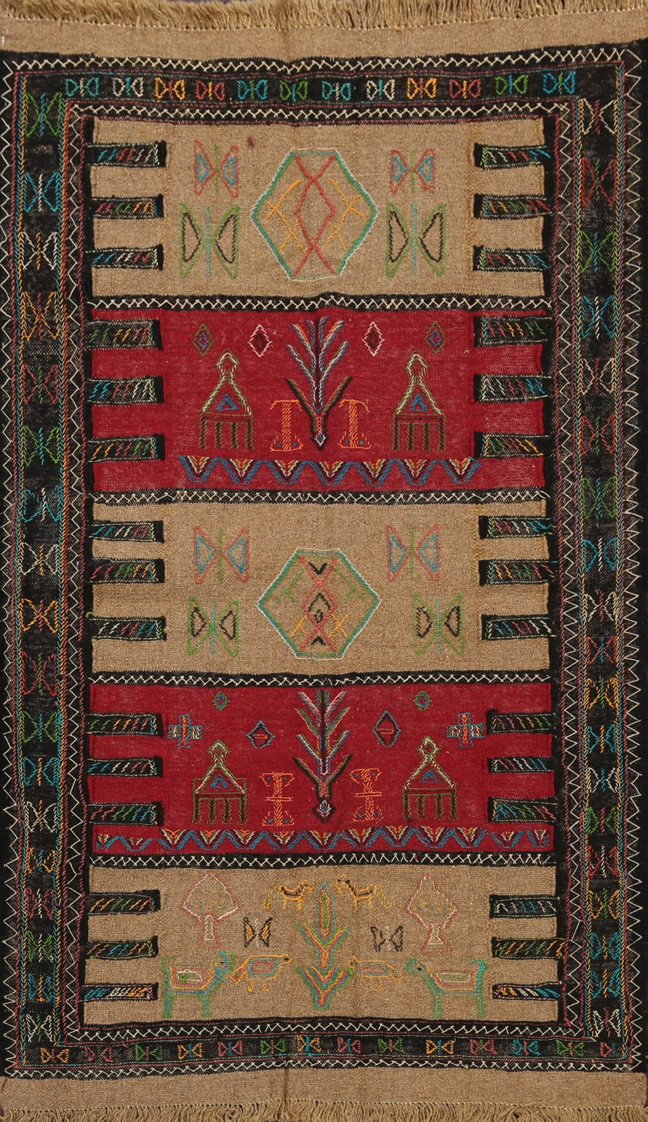 Geometric Brown Rust Hand Woven Kilim Oriental Area Rug Wool Tribal Carpet 3x6 Ebay