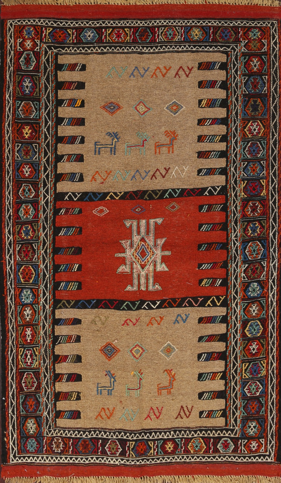Brown Rust Geometric Kilim Hand Woven Oriental Area Rug For Living Room 4x6 Ft Ebay