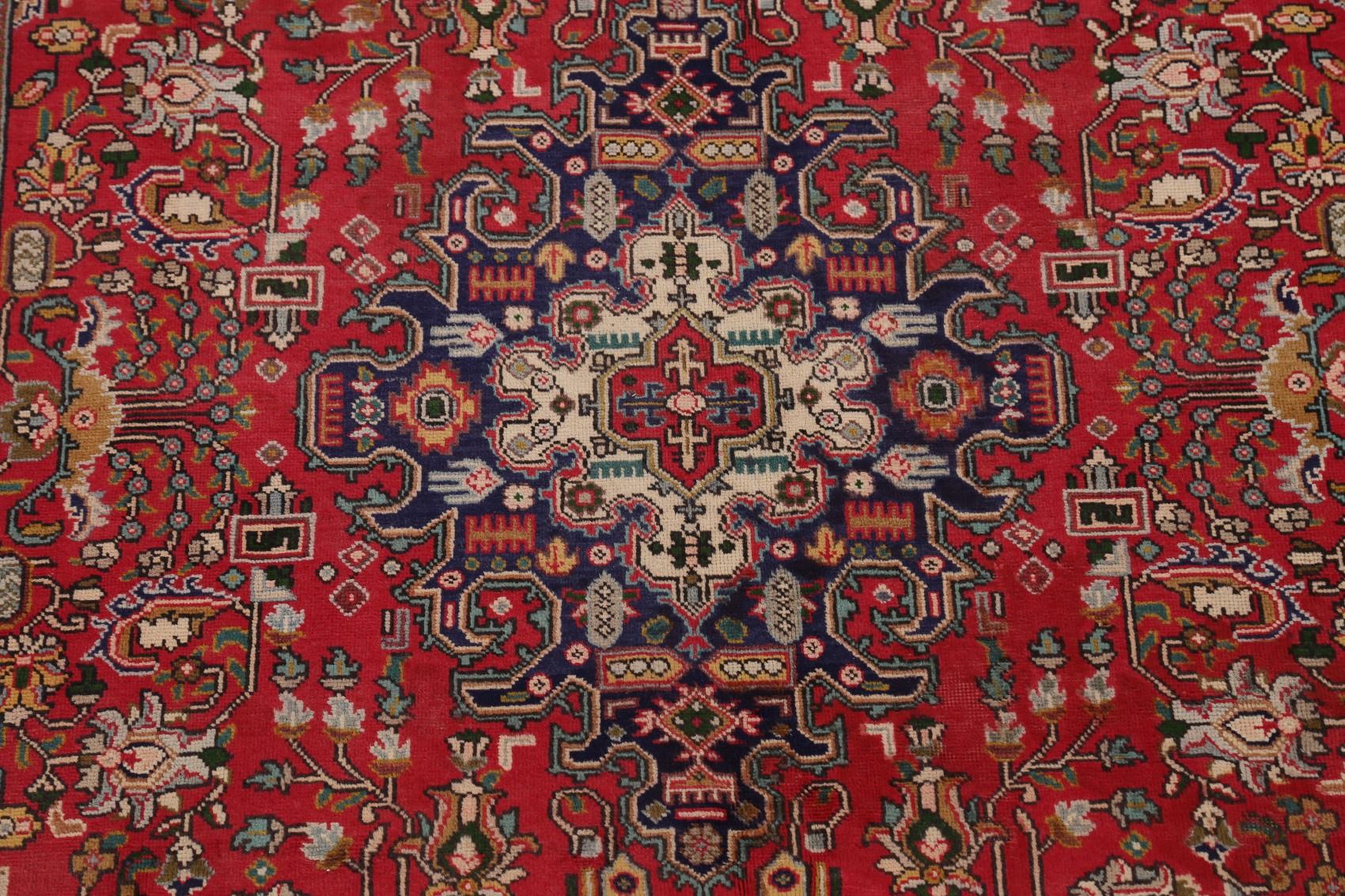 Vintage Geometric RED/ NAVY Tebriz Area Rug Wool Handmade ...