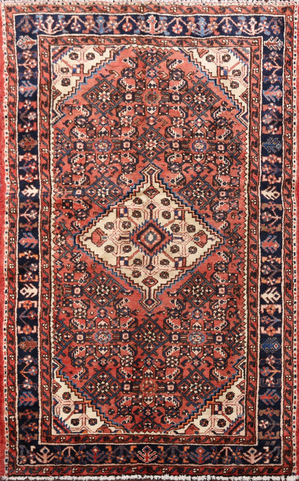 Vintage Traditional Geometric Hamedan Area Rug Wool Hand Knotted Oriental 4x5 Ft Ebay