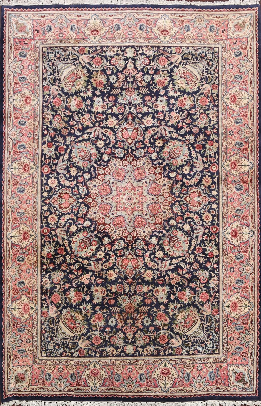 Picture of: Bird Design Floral Navy Blue Pink Hereke Turkish Oriental Area Rug Wool 6×9 Ft Ebay