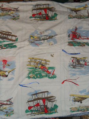Tootie24 Baby Boy Vintage Looking Airplane White Quilt