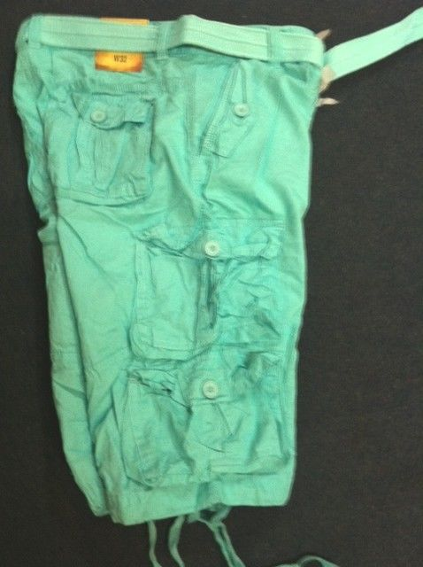 Bright Mint Green Mint Green Cargo Shorts Mens
