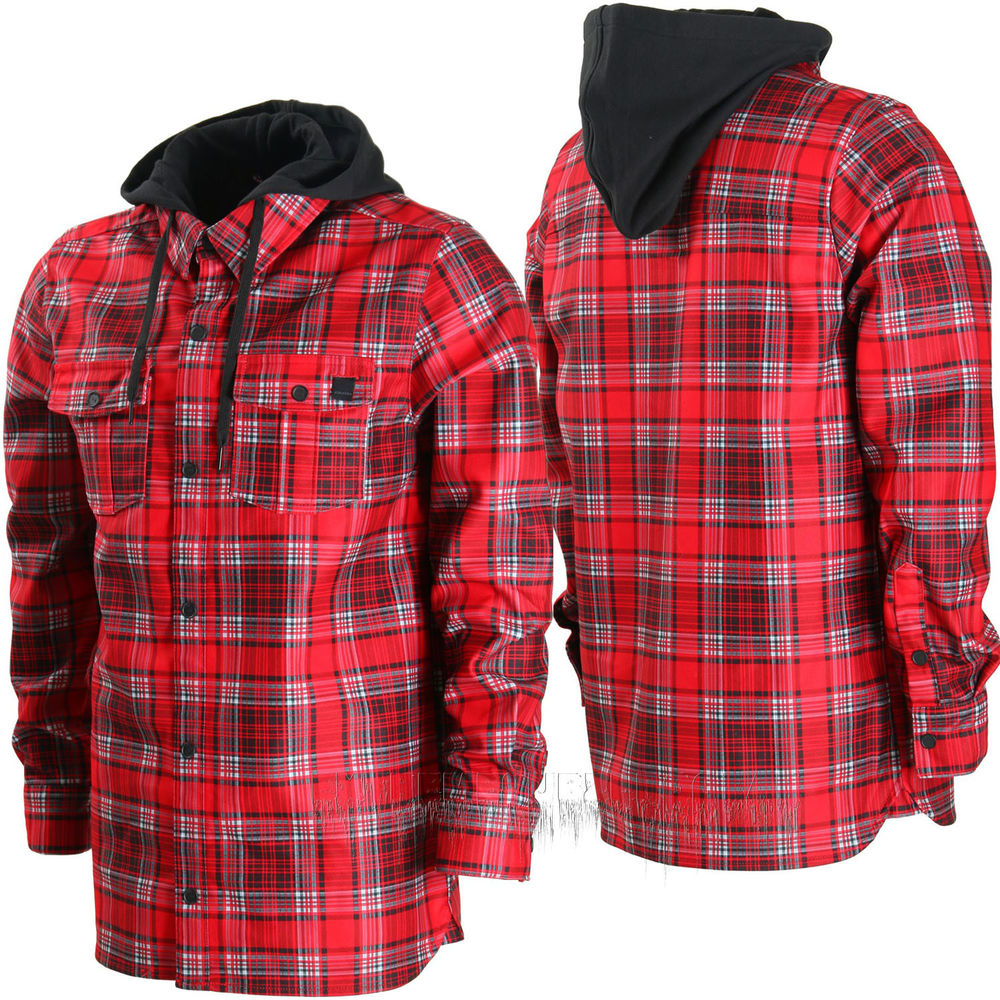 Volcom field bonded flannel snowboard hoodie shirt fleece for Flannel shirt under sweater