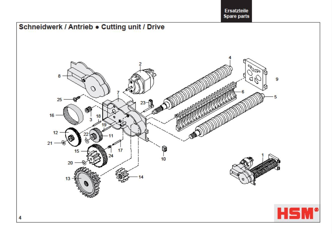 hsm classic 102 2 102cc 102sc paper shredder oem 48 12 tooth gear new