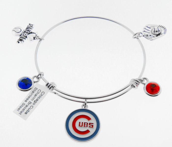 Chicago Cubs Baseball Charm Bangle Bracelet - I Lo