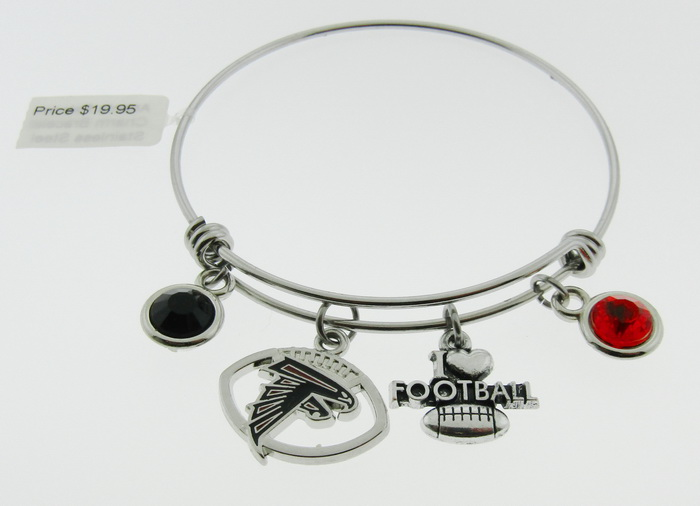 Atlanta Falcons Football Charm Bangle Bracelet - I