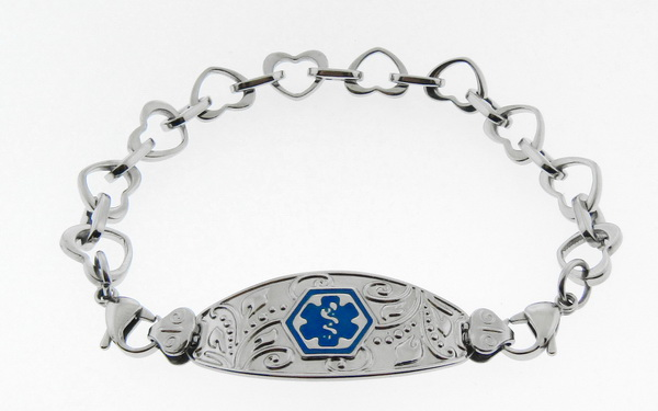 Filigree Medical Alert ID Bracelet Blue Symbol - H