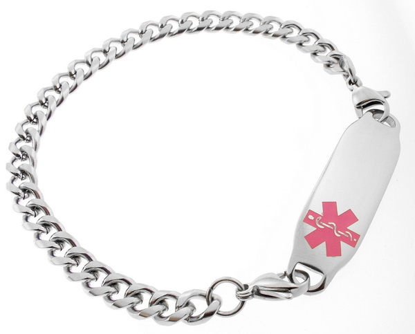 Medical Alert ID Bracelet Pink Symbol Stainless Steel FREE