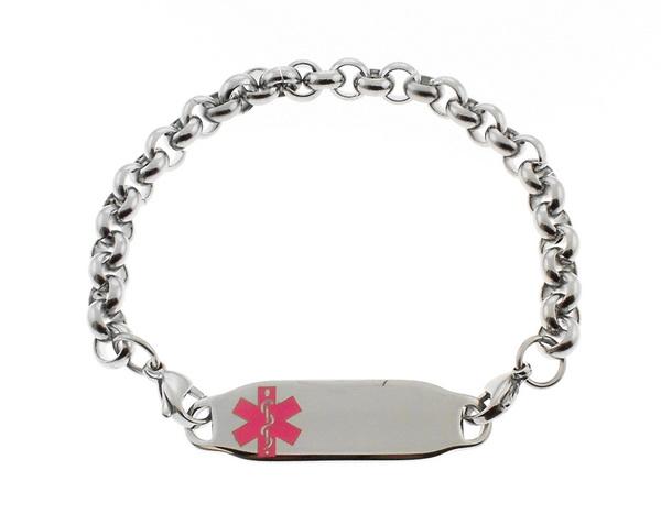 Medical Alert ID Bracelet Pink Symbol Rolo Chain S