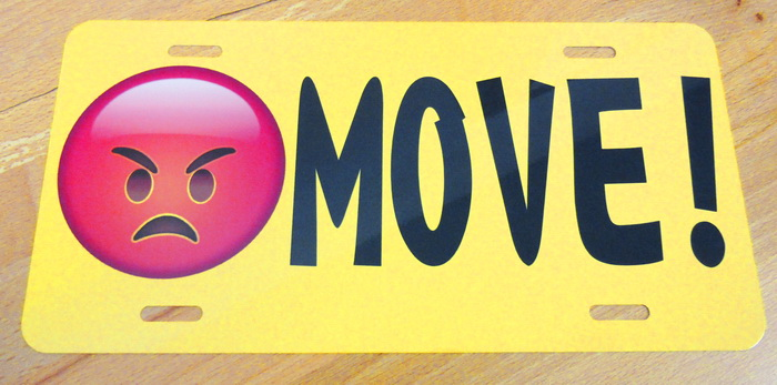 Move Angry Emoji Front License Yellow Plate