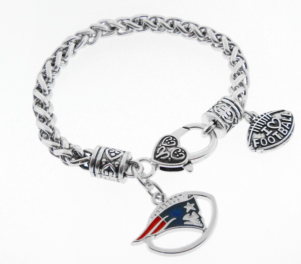 New England Patriots Football Charm Antique Silver