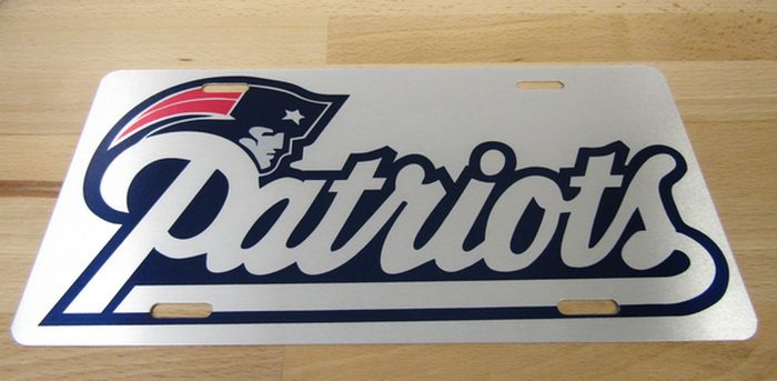 New England Patriots Front License Gloss Silver Pl